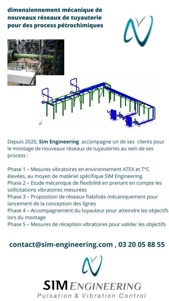 étude de Flex et vibratoires de réseaux de tuyauterie pour l'industrie